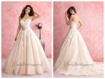 wedding photo - Strapless Sweetheart A-line Lace Ball Gown Wedding Dress