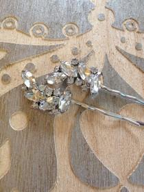 wedding photo - Pair of Art Deco rhinestone hair pins, leaves, leaf, set, 1920s, wedding, rustic, bridal, jewelry, country, vintage, set, Art Deco, hair pin