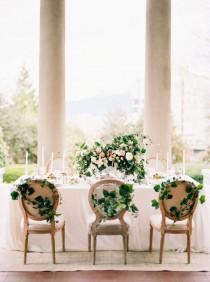 wedding photo - Wedding Table With Greenery