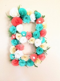 wedding photo -  Floral letter, Large Paper mache Letter, Blue and coral paper flower letter, Baby shower floral letter, Nursery decor, Kids's room decor