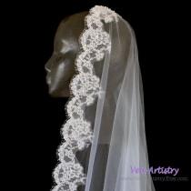 wedding photo - Long Wedding Veil, Cathedral Veil, Mantilla Bridal Veil, Alencon Lace Veil, Pearl Veil, Lace Veil, Made-to-Order Only, Bespoke Veil