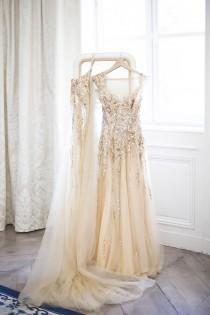 wedding photo - Modern Gatsby-Inspired French Wedding   Sparkly Gold Dress