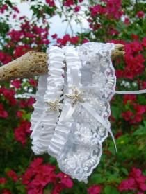b87796acce Beach Wedding White Lace Starfish Garter Set