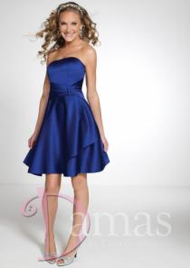 wedding photo - Ruched Lace Up Strapless Short Length Sleeveless Satin Royal Blue A-line Prom / Homecoming Dresses By DS 52302