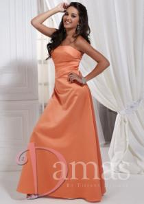 wedding photo - Ruched A-line Strapless Sleeveless Lace Up Floor Length Satin Prom / Homecoming Dresses By DS 52309