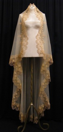 wedding photo - Waltz Length Gold Mantilla - One Of A Kind- RESERVED FOR MARIE1217