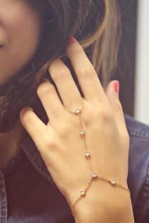 wedding photo -  Diamonds by the yard hand Bracelet. Ring Bracelet Hand Chain - Slave Bracelet - 14K Gold, 0.35 Carat Diamonds