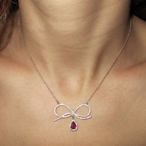 wedding photo -  Natural Red Ruby Pendant Necklace, Bow Necklace, White Gold Necklace, Diamond Necklace, Solid Gold Pendant, Ruby Necklace
