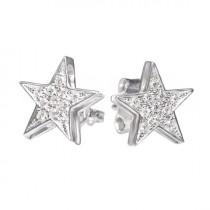 wedding photo -  Star Diamond Stud Earrings 14K Gold
