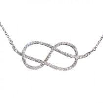 wedding photo -  Large Infinity Knot Diamond Necklace- Silly Shiny Diamonds Etsy- Wedding Diamond Necklace- Love Knot Diamond Necklace