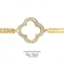 wedding photo -  Clover Diamond Bracelet 14K gold- Silly Shiny Diamonds, Birthday, Casual, Luck Charm, Lucy Bracelet, Good Luck, Graduation gift