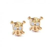 wedding photo -  Stud Earrings Gold & Diamonds - The Ride or die - Tiny Skull, 14K or 18K gold, 0.05 carat total diamond weight