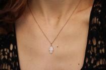 wedding photo -  Hamsa Necklace, 14K Rose Gold Necklace, Diamond Pendant Necklace, Hamsa Hand Pendant, Gold Pendant, Diamond Necklace