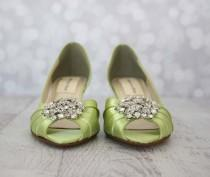 wedding photo - Wedding Shoes -- Spring Green Peeptoe Wedding Shoes with Classic Rhinestone Cluster