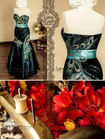 wedding photo - Fit & Flare Evening Dress from Black Lace and Teal Satin with Strapless Sweetheart Neckline featuring Peacock Embroidery and Brooch on Sash