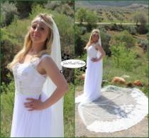 wedding photo - Wedding Veil,Alencon Lace Mantilla,Wedding Veil,Alencon Lace Mantilla,Lace wedding veil,Cathedral Length Veil,Bridal Veil Chapel Veil,