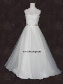wedding photo - Simple Strapless Ivory Tulle A-line Wedding Gown with Ruched sweetheart neckline