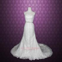 wedding photo - Strapless A-line Lace Illusion Wedding Gown