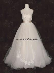 wedding photo - Timeless Victorian Princess Strapless Champagne Lace Ball Gown Wedding Gown