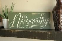 wedding photo - Last Name Family Sign Rustic Wood Sign Personalized with Last Name and Est Date in Distressed Finish, in Rustic Sage Green Finish 18x7