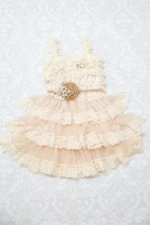 wedding photo - Burlap Girls Dress, Rustic Flower Girl Dress, Farm Birthday Outfit, Country Baby Dress, Rustic Dress, Summer Dress, Chic Baby Dress