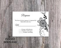 wedding photo - DIY Lace Wedding RSVP Template Editable Word File Instant Download Black Rsvp Template Printable Vintage Rsvp Floral RSVP Card Rustic Rsvp