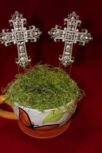 wedding photo - CROSS CAKE TOPPER ,Rhinestone Crystal Rhinestone Covered Silver Monogram Roman Cross Church Baptism Christening CakeTopper Cross,10inch