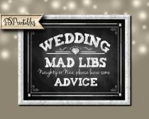 wedding photo - Wedding Mad Libs or Advice Chalkboard style Wedding sign - 3 sizes - instant download PRINTABLE digital file - Diy - Rustic Collection