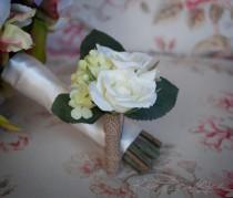 wedding photo - Wedding Boutonniere Rustic Rose Hydrangea Wedding Boutonniere with Green Hydrangeas