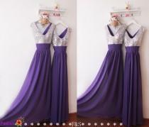 wedding photo - Purple Sequin Prom Dress,Sexy V Neck Bridesmaid Dress,Sparkly Formal Evening Dress,Custom Rustic Bridesmaid Dress,Cheap Prom Dresses 2016