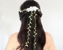 wedding photo - Flower Crown, Flower Adornment, Bridal Headpiece, Wedding headpiece, Destination Wedding, Flower Head Wreath, Rustic Wedding, Floral Crown