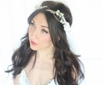 wedding photo - flower crown, bridal headpiece, wedding flower crown, ivory Flower crown, rustic head wreath, wedding headband, bridal hair