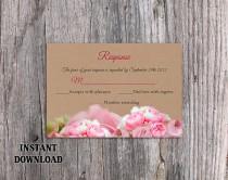 wedding photo - DIY Rustic Wedding RSVP Template Editable Word File Download Burlap Rsvp Template Printable RSVP Cards Boho Rsvp Peonies Rsvp Floral Rsvp