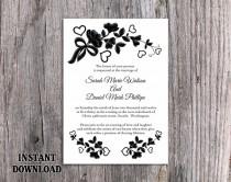 wedding photo - DIY Lace Wedding Invitation Template Editable Word File Download Printable Rustic Wedding Invitation Vintage Floral Black & White Invitation
