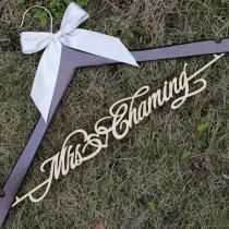 wedding photo - Personalized Rustic Wedding Hanger, Bride Bridesmaid Wood Name Hanger, Custom Wedding Bridal Dress Hanger,Bridal Shower Gift LL006