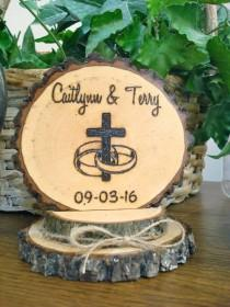 wedding photo - Rustic Cross Rings Wedding Cake Topper / Wood Burned / Personalized Topper