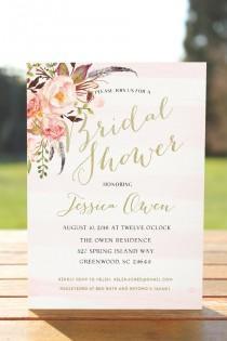 wedding photo - Bridal shower invitation,boho bridal shower, printable bridal invitation, rustic floral Wedding Shower invite, Blush Pink Bridal Shower 0001