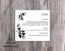wedding photo - DIY Lace Wedding Details Card Template Editable Word File Download Printable Vintage Floral Details Card Black Rustic Enclosure Card