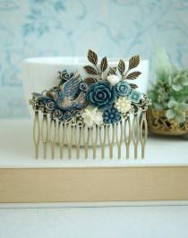 wedding photo - Blue Comb, Something Blue Wedding, Dove Bird, Gold, Dusty Blue, Ivory, Pearl, Grey Blue, Leaf Rustic Flower LARGE Hair Comb. Bridesmaid Gift