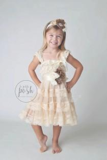 13aedadcc rustic chic flower girl dress, country flower girl dress, flower girl  dresses, champagne flower girl dress, burlap, lace flower girl dress