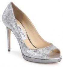 wedding photo - Jimmy Choo Luna Leather & Glitter Peep-Toe Pumps