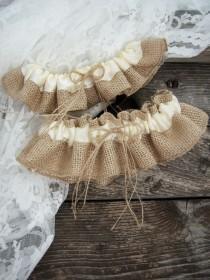 wedding photo - Natural Burlap Wedding Garter Set/Wedding Bridal Garter Set/Wedding Rustic Garter Set/Ivory Garte Set /Choose Your Color
