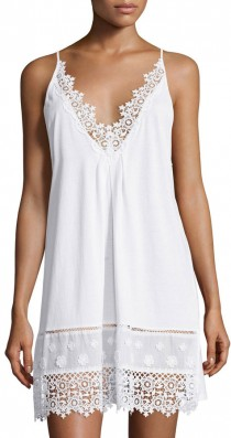 wedding photo - Oscar de la Renta Floral-Embroidered Sleeveless Jersey Chemise, White