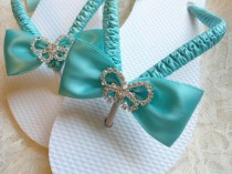 wedding photo - Aqua Blue Wedding Sandals. Bridal Flip Flops Decorated W/ Rhinestone Butterfly