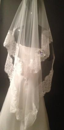wedding photo - Wonderful lace wedding veil, lace veil. Ivory veil, white veil. Mantilla.