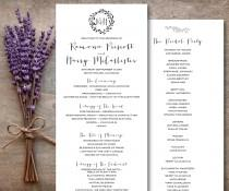 wedding photo - Catholic Wedding Program Printable, Rustic Wedding Program, Brown Kraft Wedding Program Monogram Wedding Program, Wreath Program, The Laguna