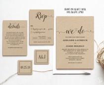 wedding photo - Rustic Wedding Invitation Template, 5-Piece Printable Wedding Invitation, Kraft Wedding Invitation, Editable Text, Instant Download