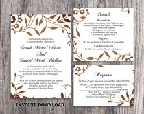 wedding photo - DIY Wedding Invitation Template Set Editable Word File Instant Download Printable Leaf Invitation Rustic Gold Invitation Elegant Invitation