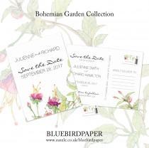 wedding photo -  Bohemian Garden, a boho save the date postcard