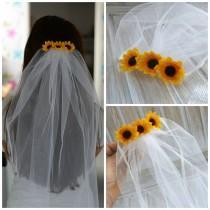 wedding photo - Bachelorette Veil Bridal Shower Veil Sunflower Party Accessory Headband Veil Sunflower Bride Party Rustic Sunflower Wedding